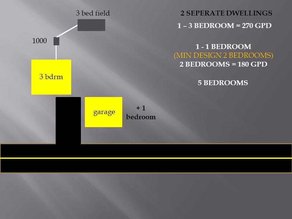 3 bed field 2 SEPERATE DWELLINGS. 1 – 3 BEDROOM = 270 GPD. 1000. 1 - 1 BEDROOM. (MIN DESIGN 2 BEDROOMS)