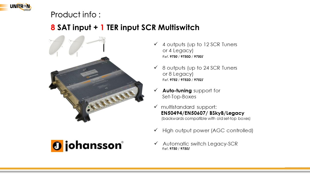 8 SAT input + 1 TER input SCR Multiswitch