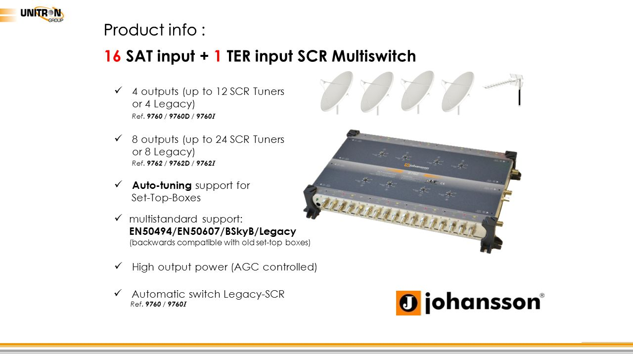 16 SAT input + 1 TER input SCR Multiswitch