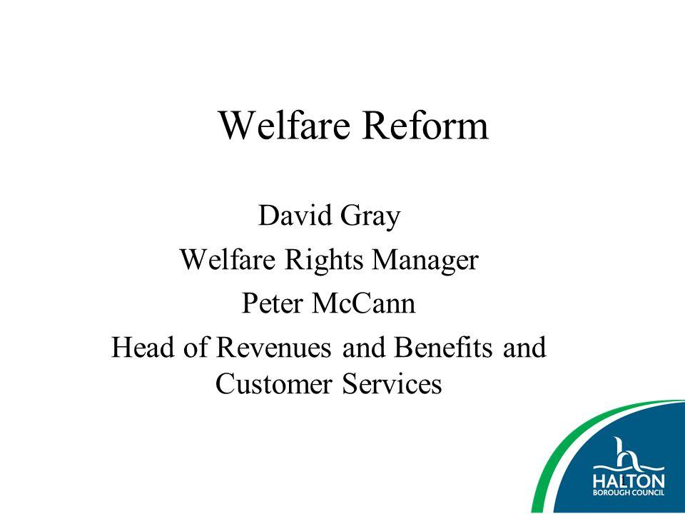 Welfare Reform David Gray Welfare Rights Manager Peter McCann
