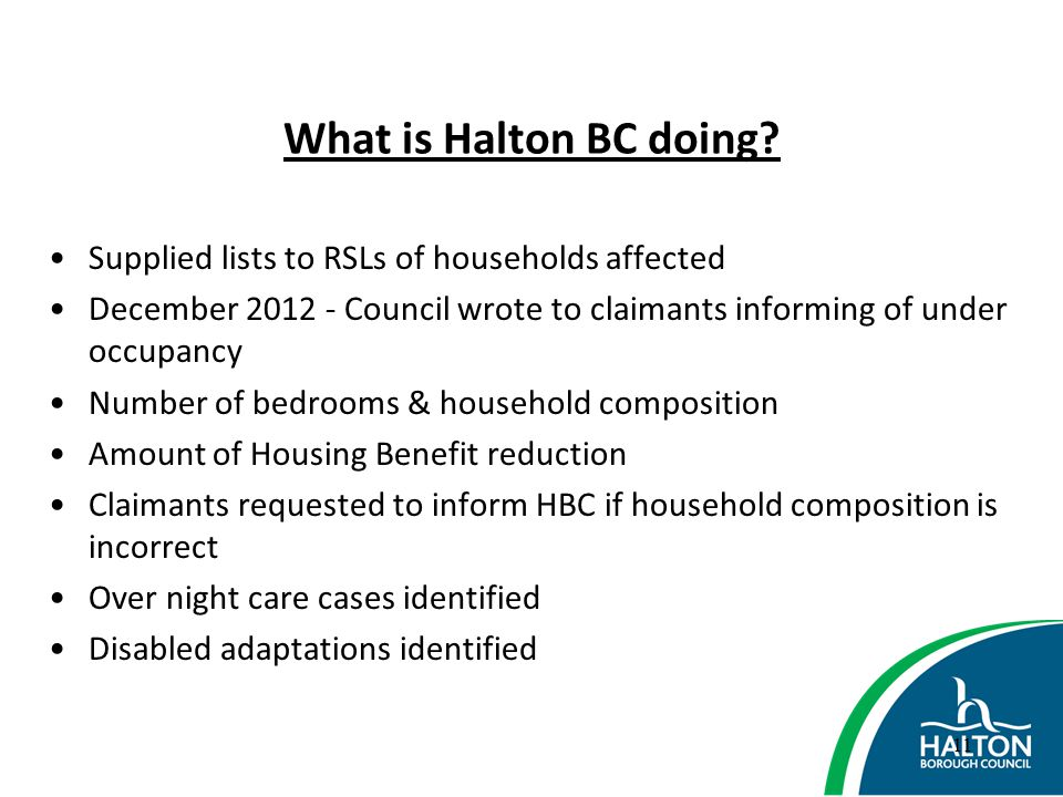 What is Halton BC doing Supplied lists to RSLs of households affected