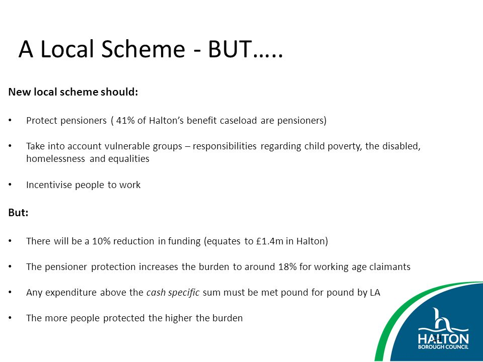 A Local Scheme - BUT….. New local scheme should: But: