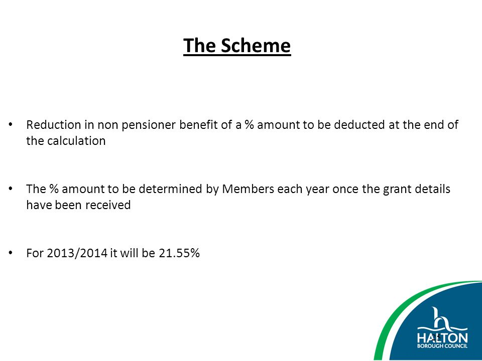 The Scheme Reduction in non pensioner benefit of a % amount to be deducted at the end of the calculation.
