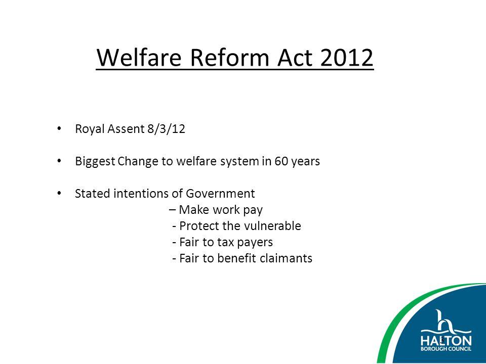 Welfare Reform Act 2012 Royal Assent 8/3/12