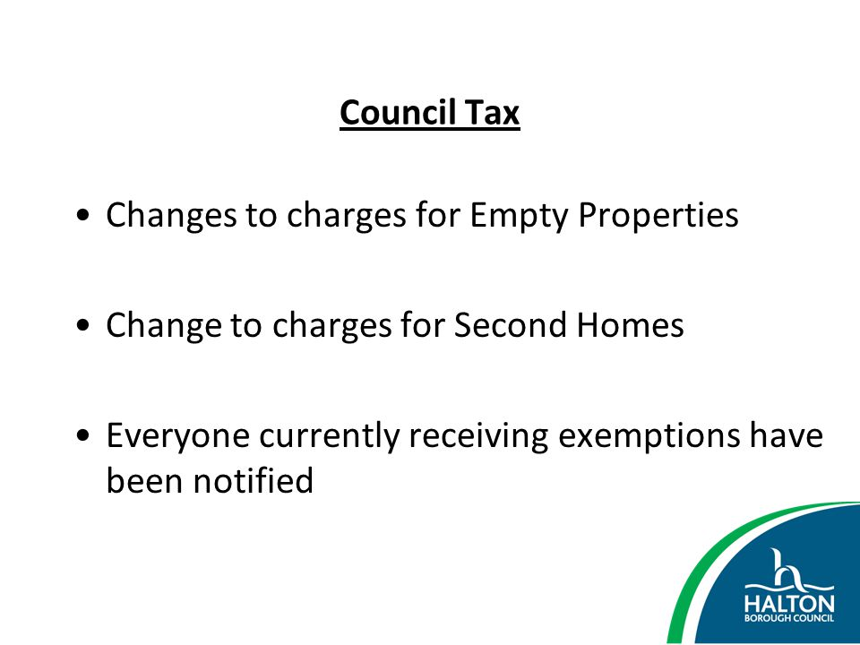 Council Tax Changes to charges for Empty Properties.