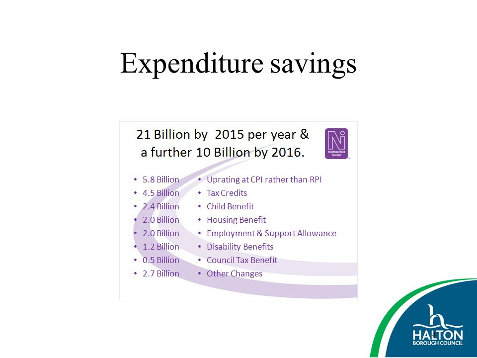 Expenditure savings