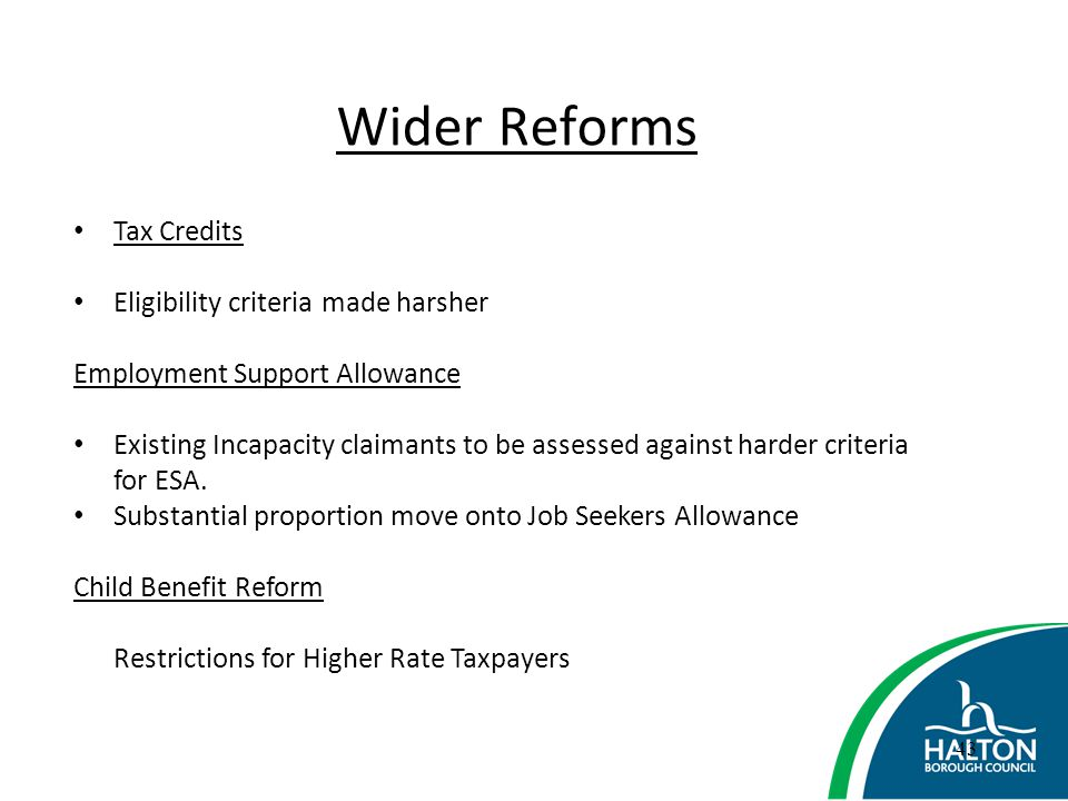 Wider Reforms Tax Credits Eligibility criteria made harsher