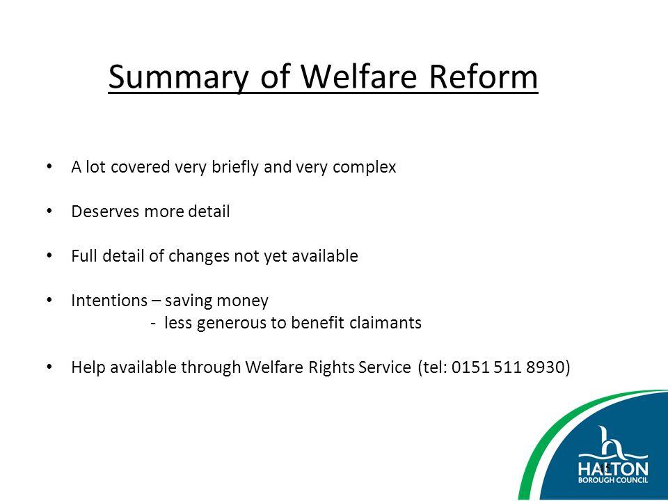Summary of Welfare Reform