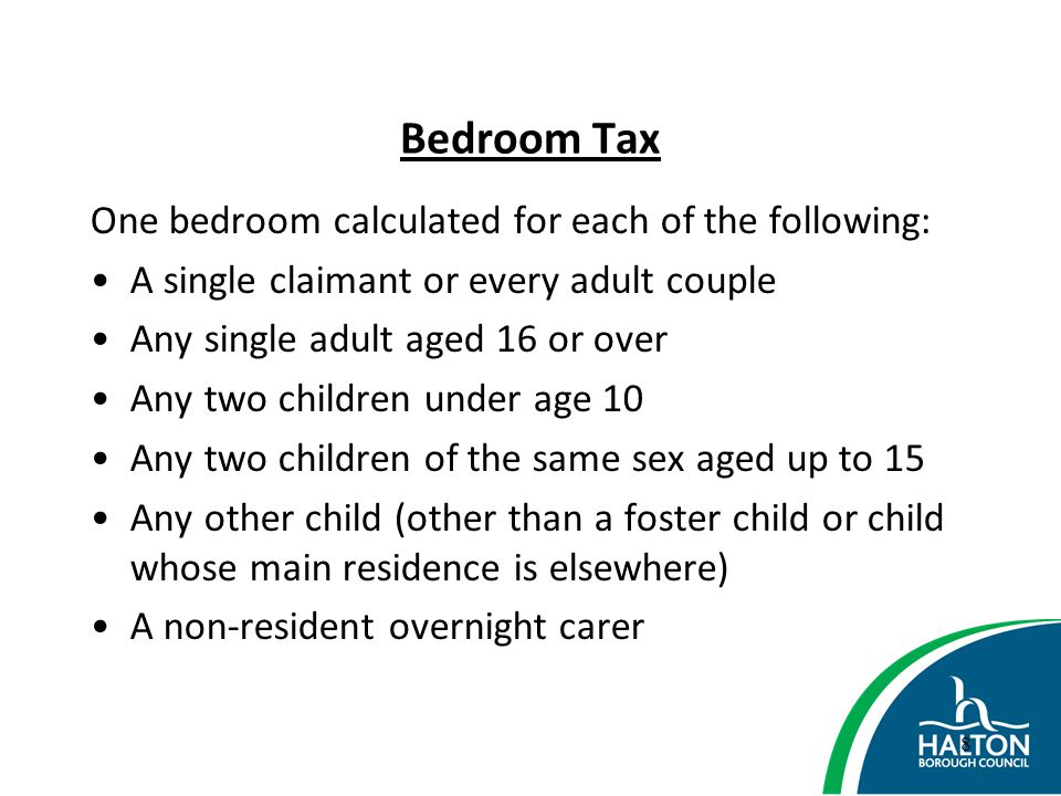 Bedroom Tax One bedroom calculated for each of the following: