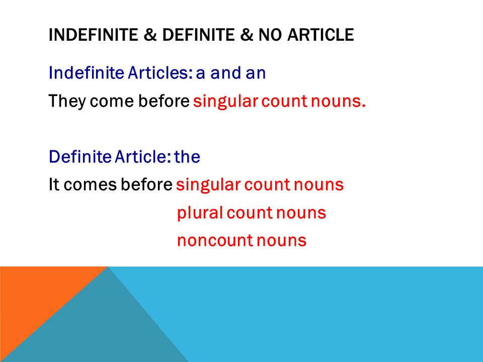 Indefinite & definite & no Article