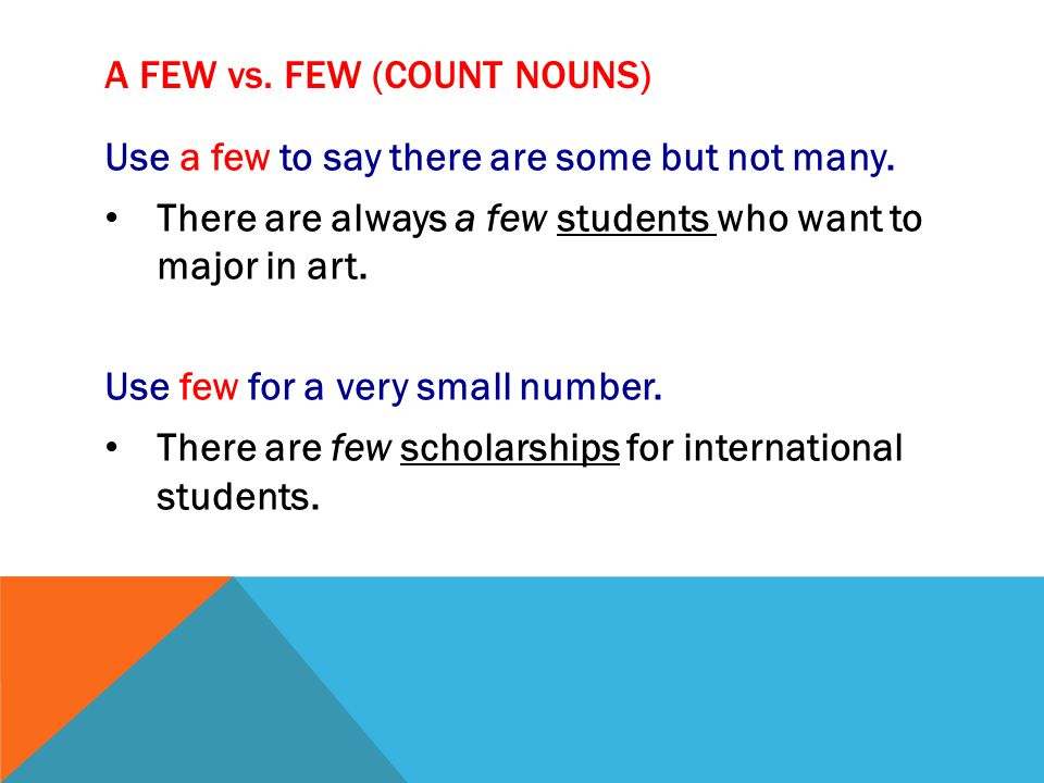 A FEW vs. FEW (count nouns)