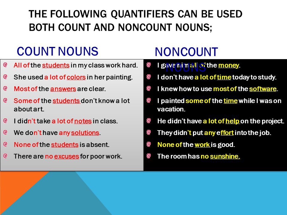 The following quantifiers can be used both count and noncount nouns;