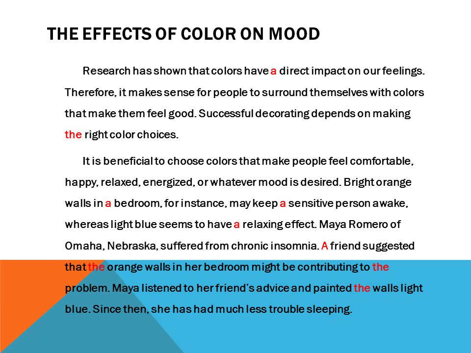 The Effects Of Color On Mood