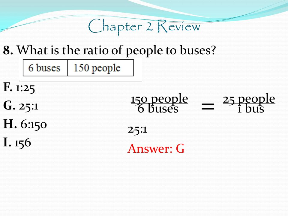 Chapter 2 Review 8. What is the ratio of people to buses F. 1:25 G. 25:1 H. 6:150 I. 156 150 people 25 people.