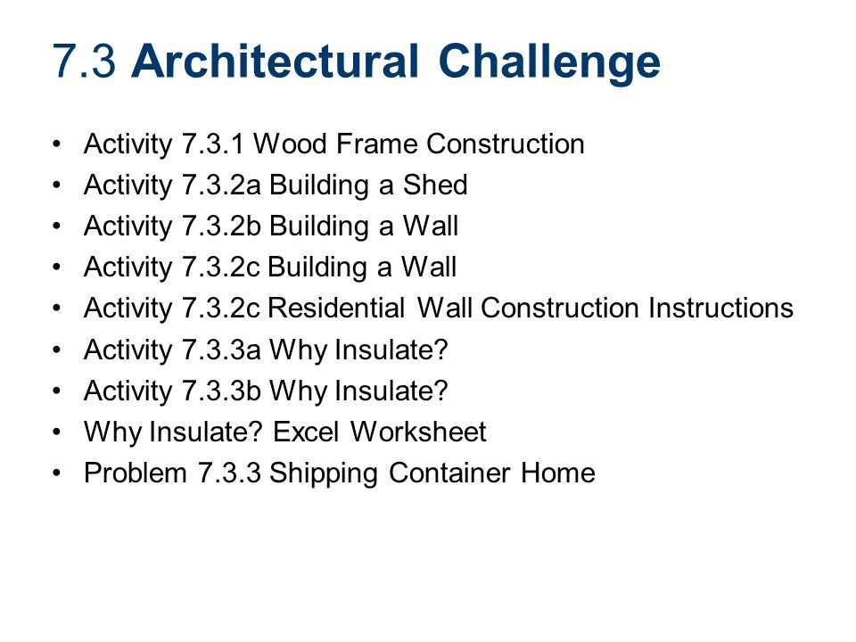 7.3 Architectural Challenge