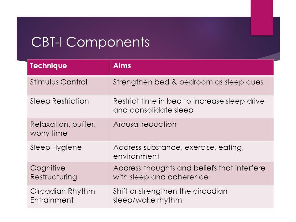 CBT-I Components Technique Aims Stimulus Control
