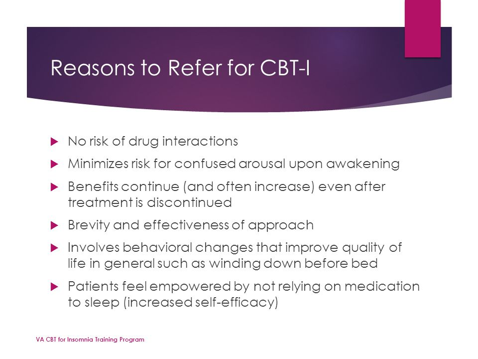 Reasons to Refer for CBT-I