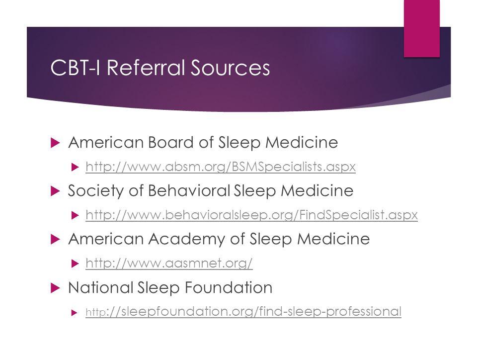 CBT-I Referral Sources