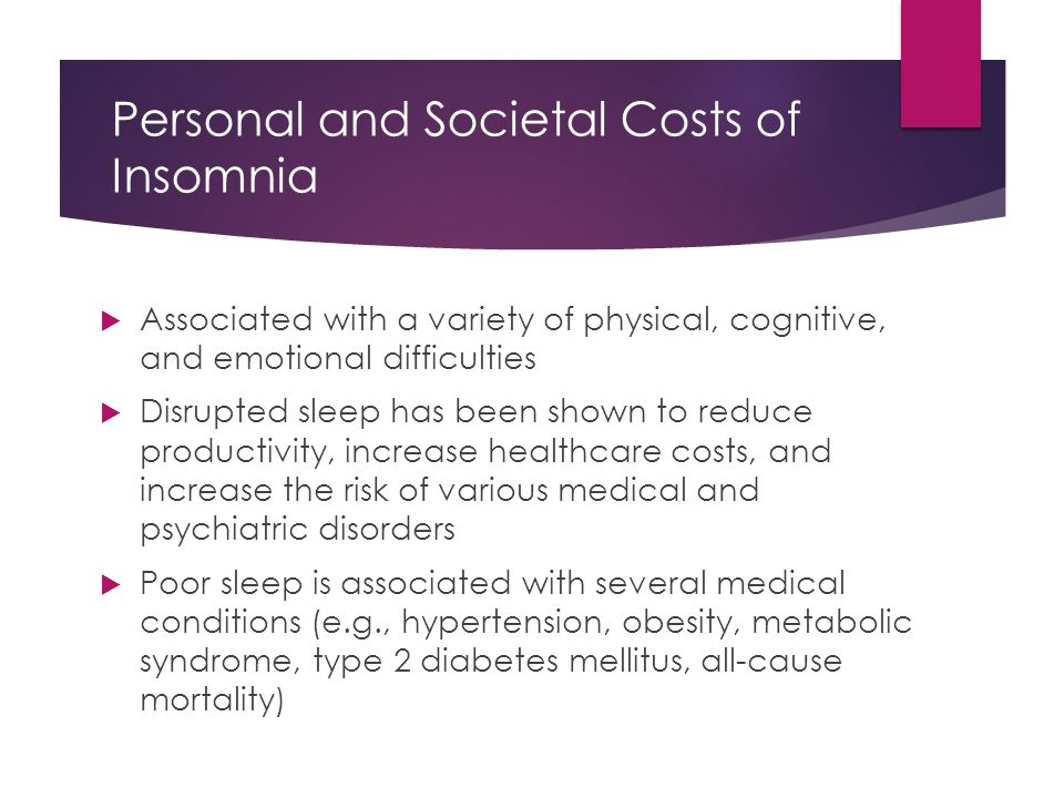 Personal and Societal Costs of Insomnia