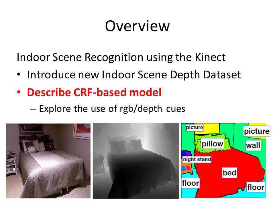 Overview Indoor Scene Recognition using the Kinect