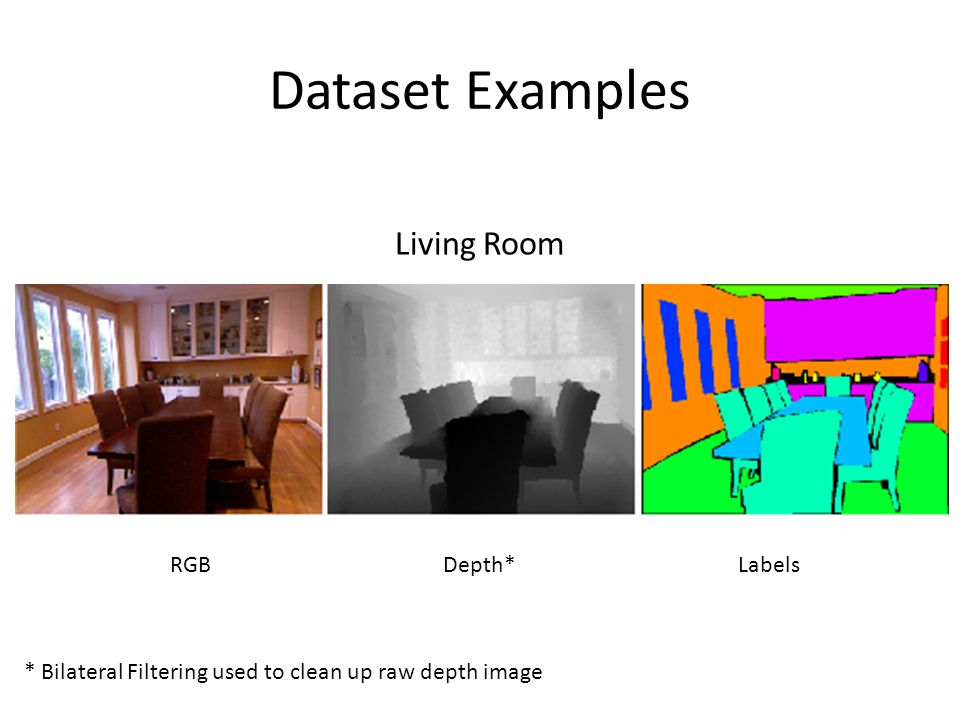 Dataset Examples Living Room RGB Depth* Labels