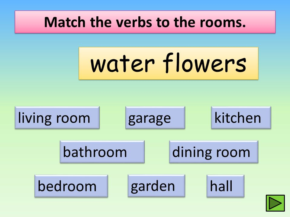 Match the verbs to the rooms.