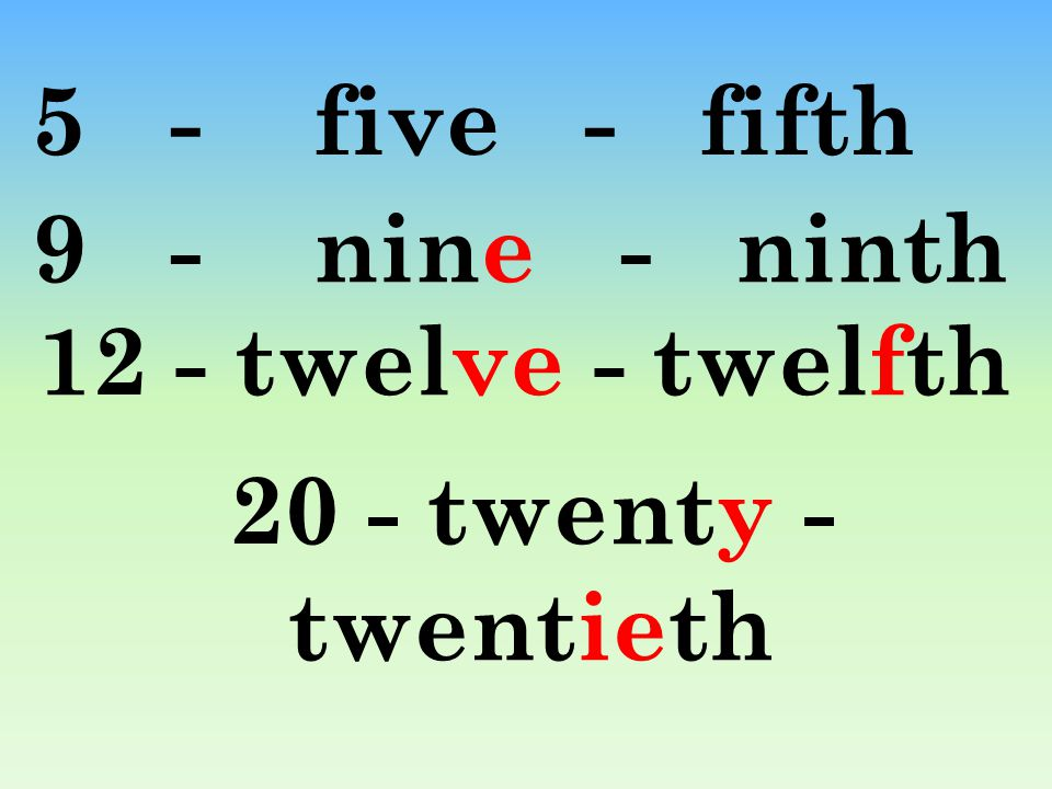 5 - five - fifth 9 - nine - ninth 12 - twelve - twelfth 20 - twenty - twentieth