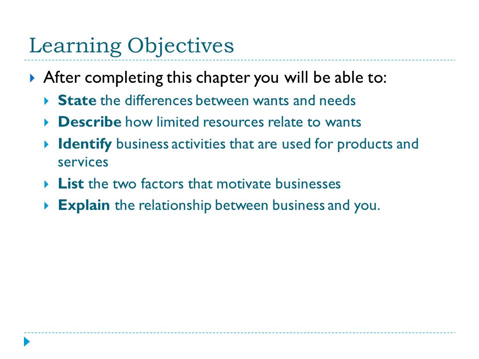 Learning Objectives After completing this chapter you will be able to: