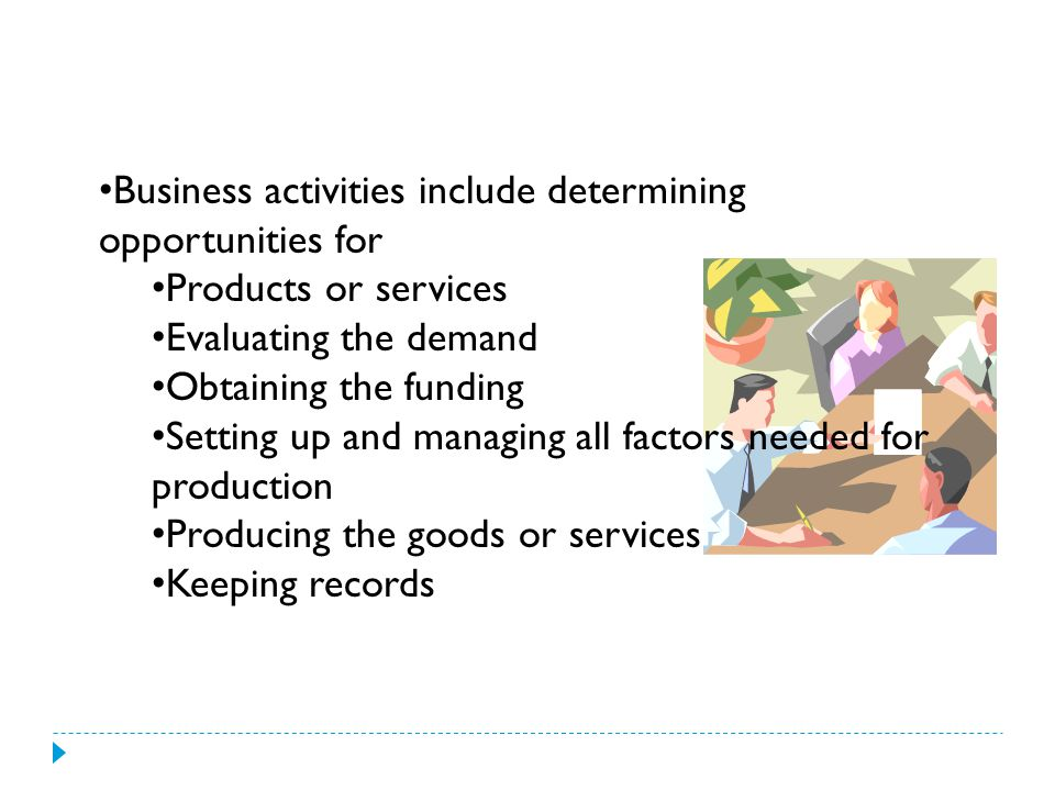 Business activities include determining opportunities for