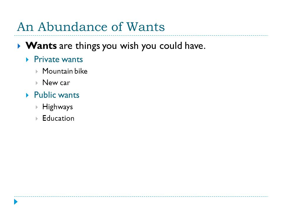 An Abundance of Wants Wants are things you wish you could have.