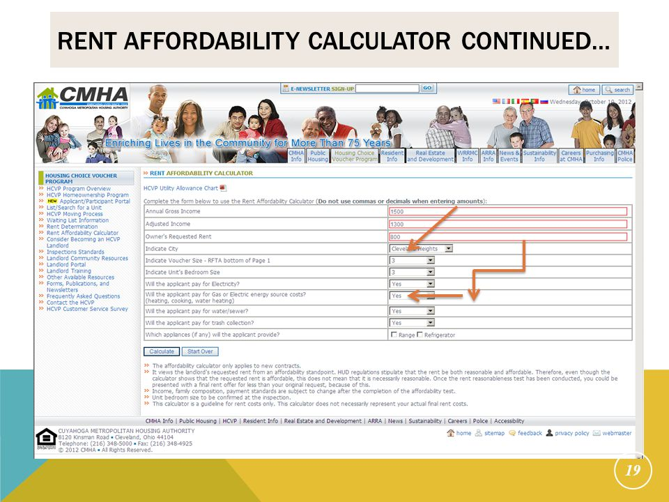 Rent Affordability Calculator continued…