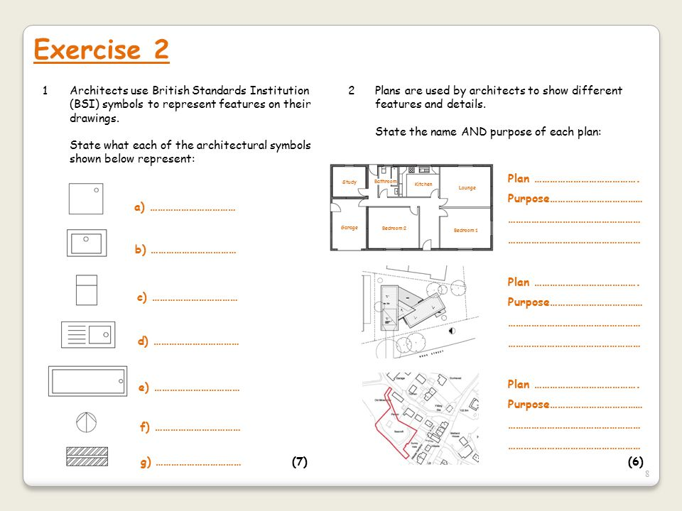 Exercise 2 1 Architects use British Standards Institution (BSI) symbols to represent features on their drawings.