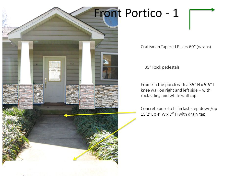 Front Portico - 1 ≈ ≈ ≈ Craftsman Tapered Pillars 60 (wraps)