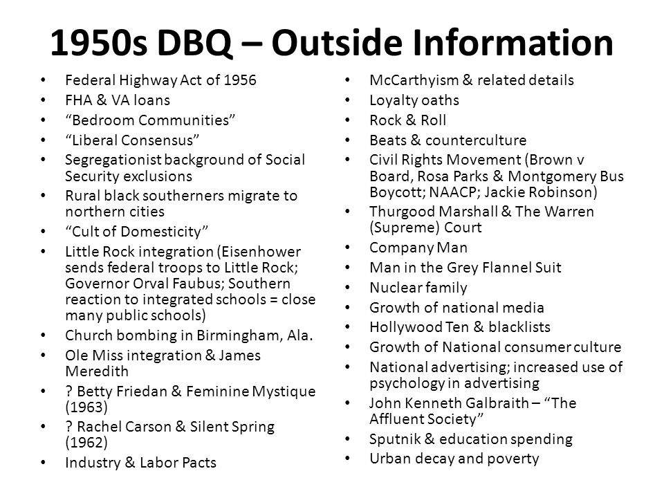 1950s DBQ – Outside Information