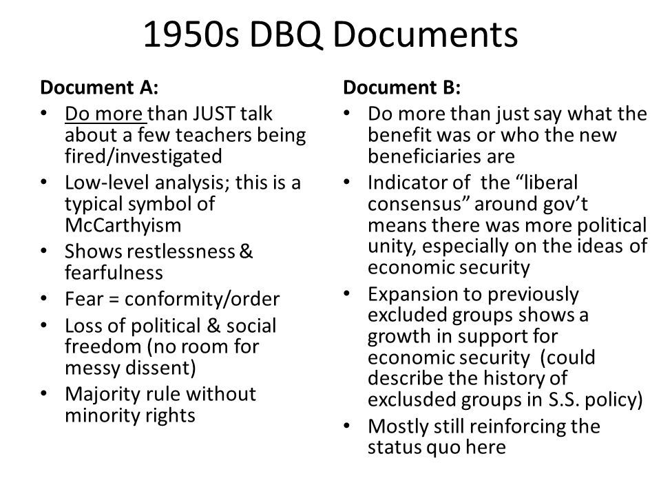 1950s DBQ Documents Document A: