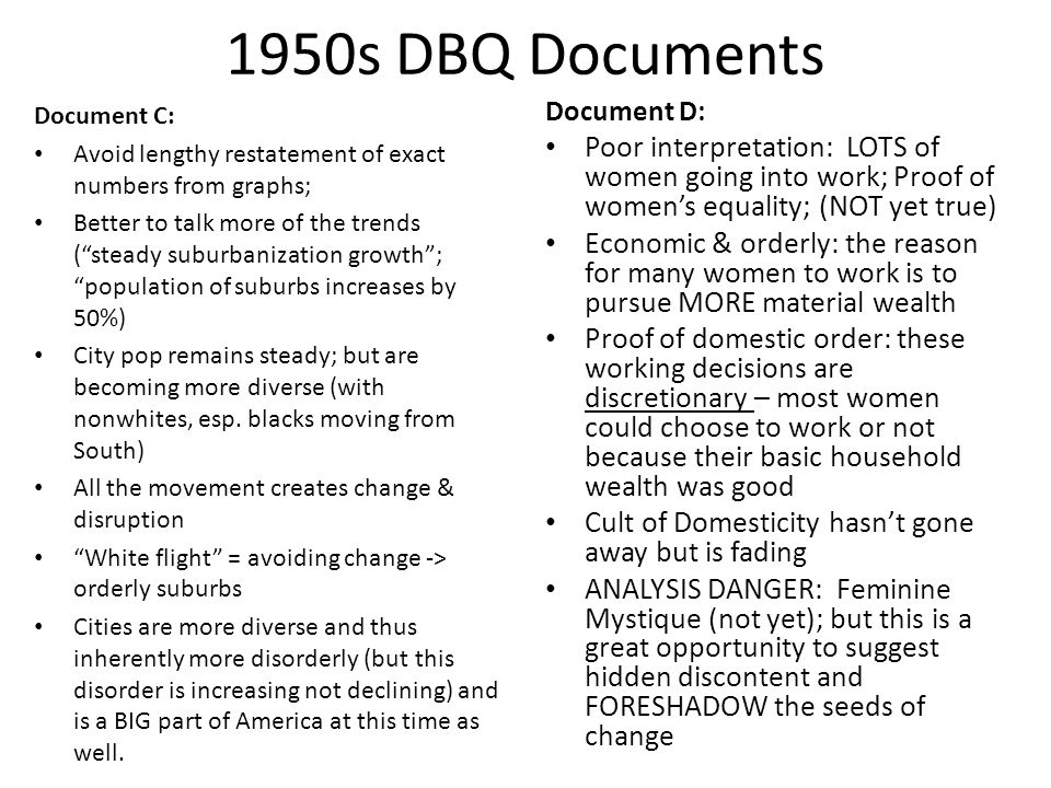1950s DBQ Documents Document C: Avoid lengthy restatement of exact numbers from graphs;