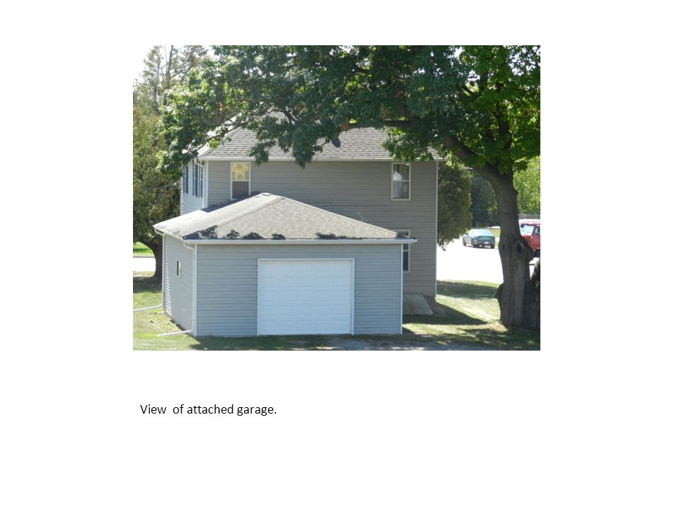 View of attached garage.