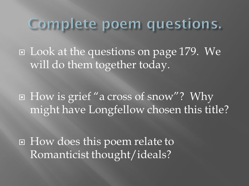 Complete poem questions.