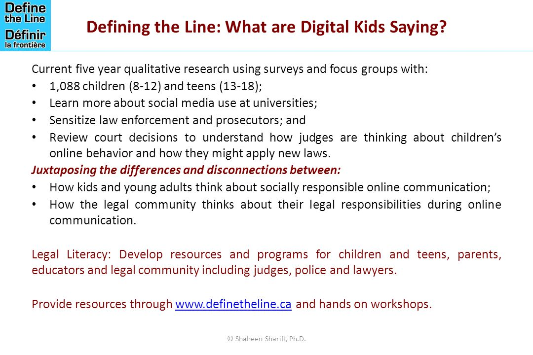 Defining the Line: What are Digital Kids Saying