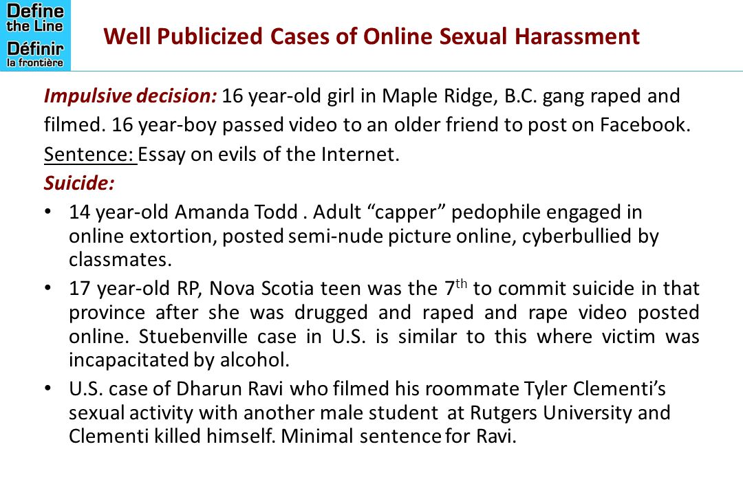 defining the legal lines on cyber harassment a public policy  well publicized cases of online sexual harassment