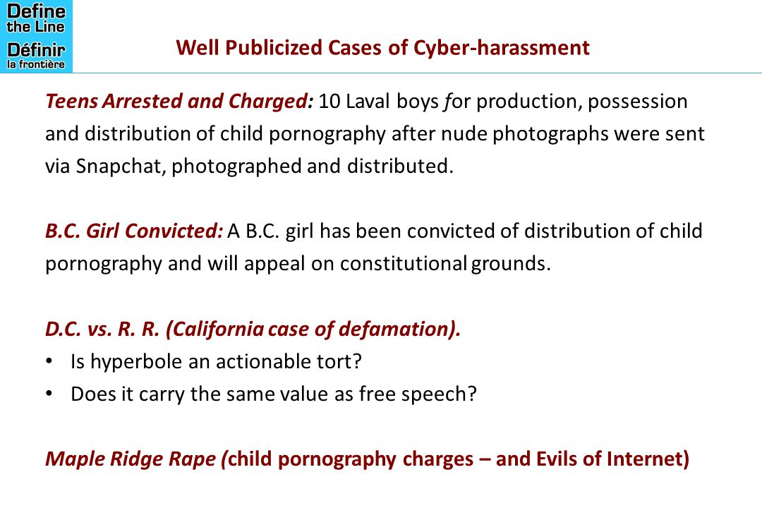 Well Publicized Cases of Cyber-harassment