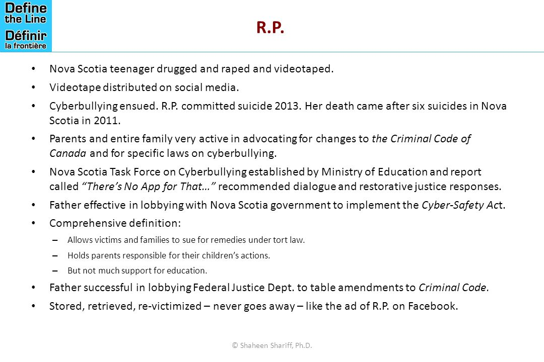 R.P. Nova Scotia teenager drugged and raped and videotaped.