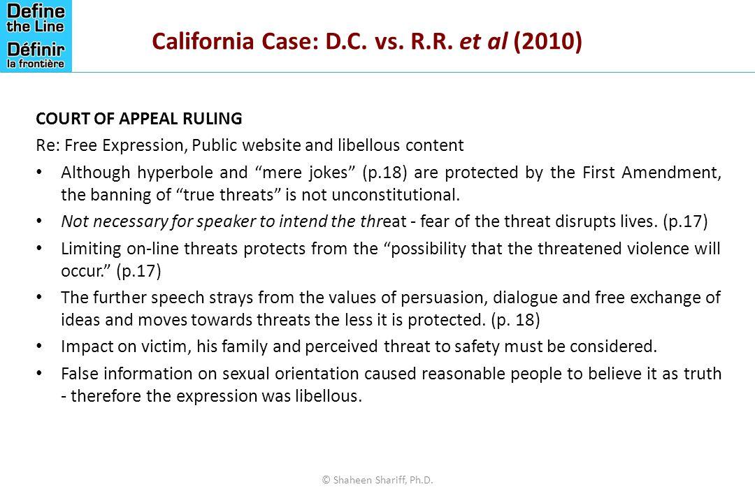 California Case: D.C. vs. R.R. et al (2010)