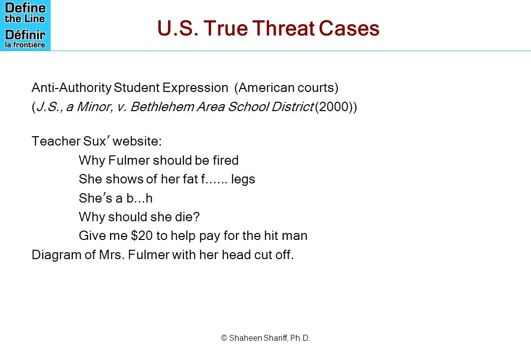 U.S. True Threat Cases Anti-Authority Student Expression (American courts) (J.S., a Minor, v. Bethlehem Area School District (2000))