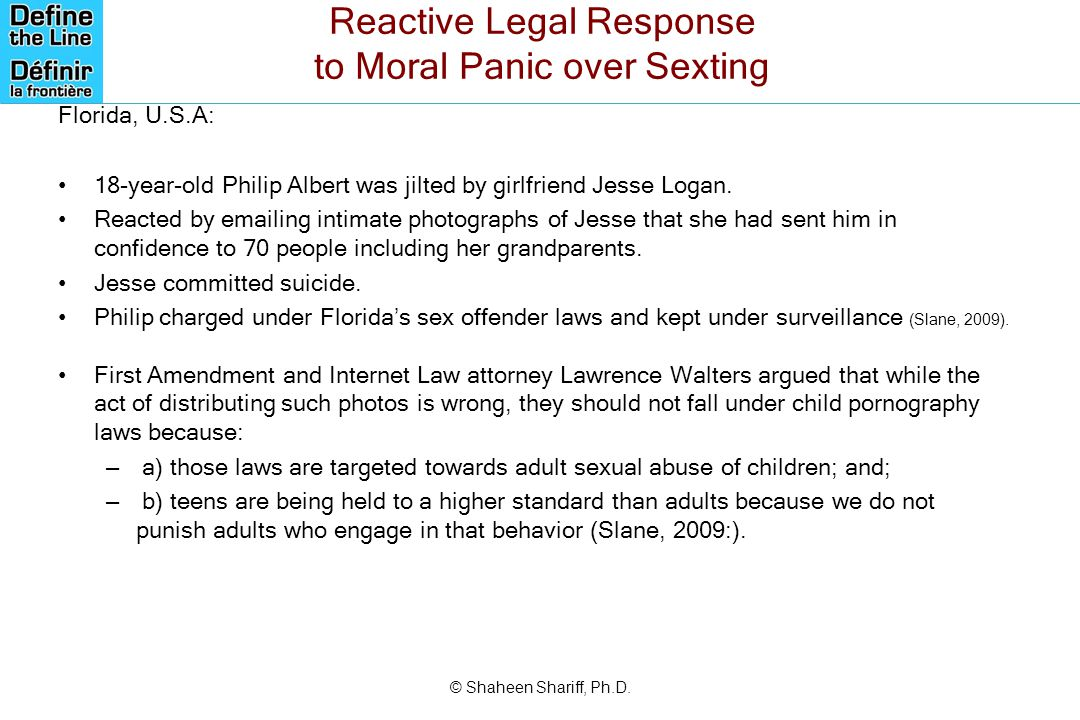 Reactive Legal Response to Moral Panic over Sexting