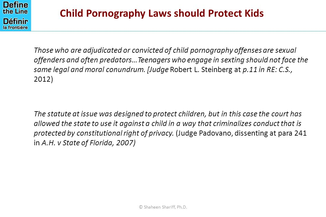 Child Pornography Laws should Protect Kids