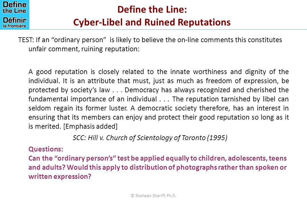 Define the Line: Cyber-Libel and Ruined Reputations