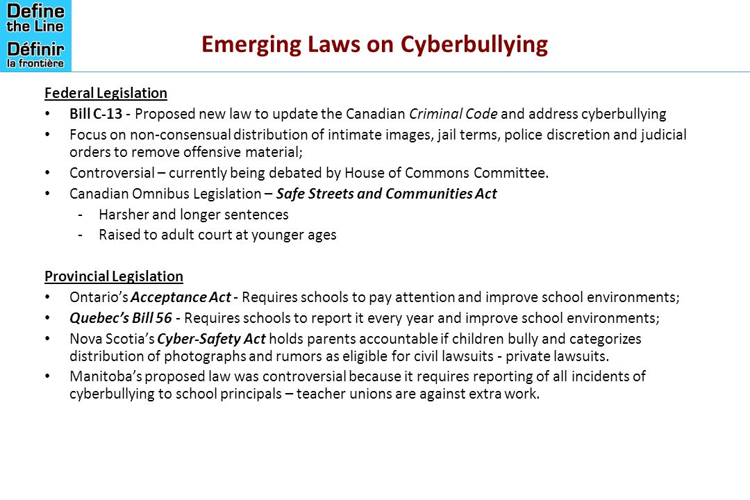 Emerging Laws on Cyberbullying