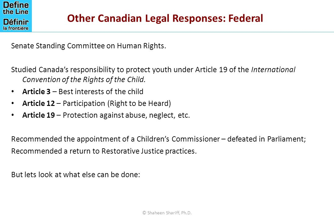 Other Canadian Legal Responses: Federal