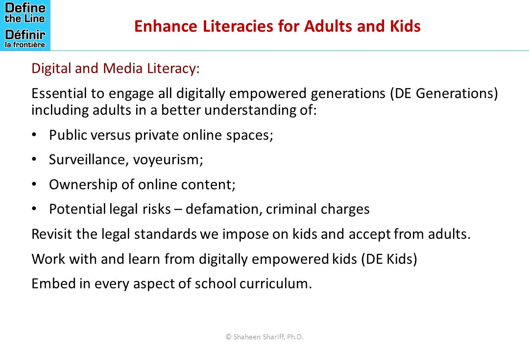 Enhance Literacies for Adults and Kids